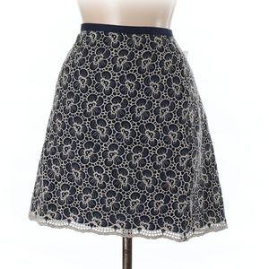 J CREW Skirt Black Ivory Floral Embroidered Skirt
